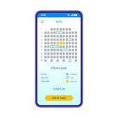 Movie seats booking smartphone interface vector template. Mobile app page blue design layout. Theatre, concert places selection screen. Flat UI for application. Online ticket reservation phone display