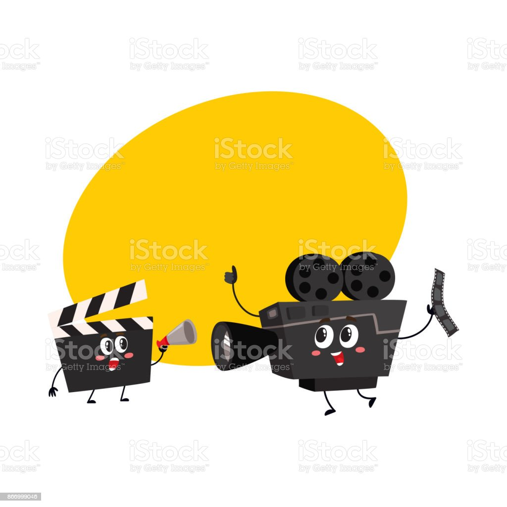 Movie shooting camera, film reel characters with smiling human faces vector art illustration