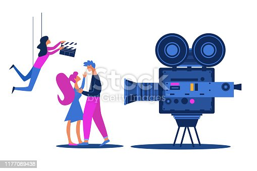 Movie Shooting Hollywood Love Story Scene with Actors Man and Woman Characters Kissing in front of Videocamera, Woman with Clapperboard Hang on Ropes. Filming Process Cartoon Flat Vector Illustration