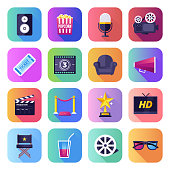 Movie, television show and video sharing flat smooth gradient style concept symbols. Flat design vector icons set for infographics, mobile and web designs.