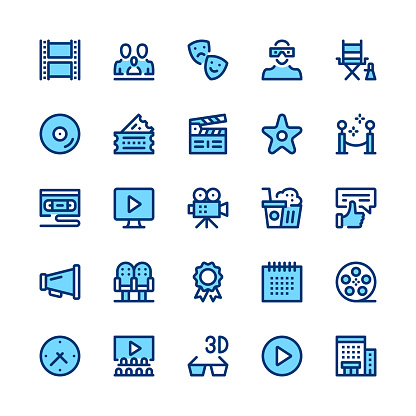 Movie theater, cinema, filmmaking line icons set. Modern graphic design concepts, simple symbols, linear stroke web elements, pictograms collection. Minimal thin line design. Premium quality. Pixel perfect. Vector outline icons