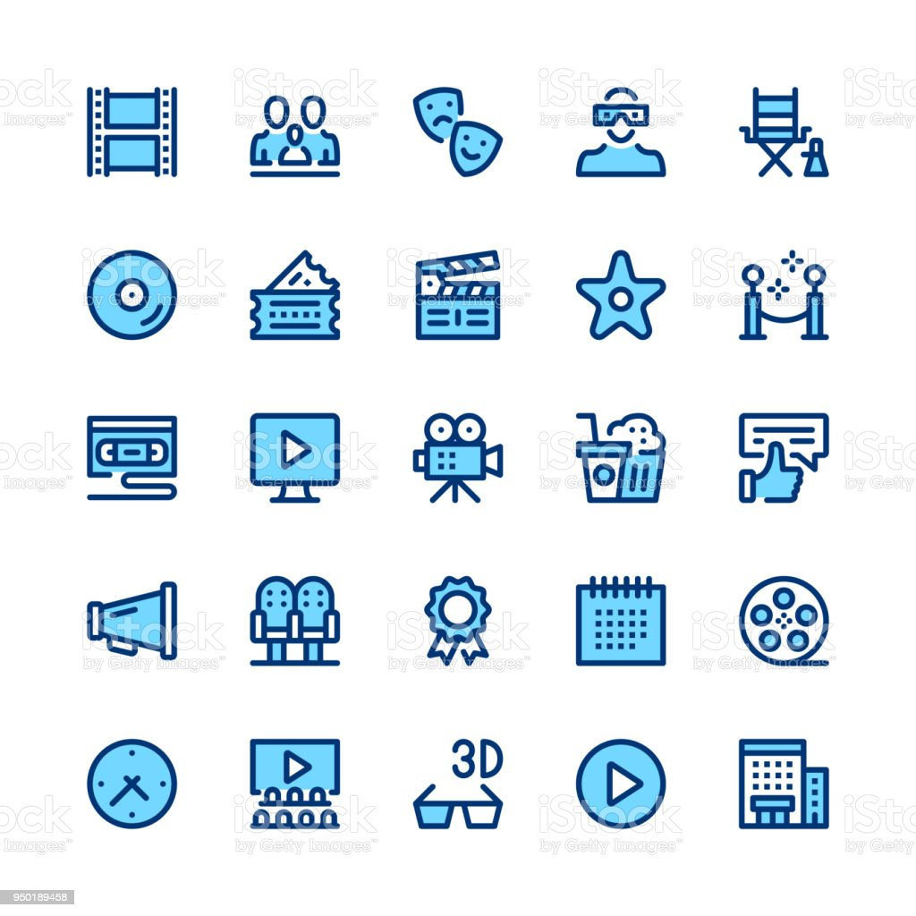 Movie theater, cinema, filmmaking line icons set. Modern graphic design concepts, simple symbols, linear stroke web elements, pictograms collection. Minimal thin line design. Premium quality. Pixel perfect. Vector outline icons vector art illustration