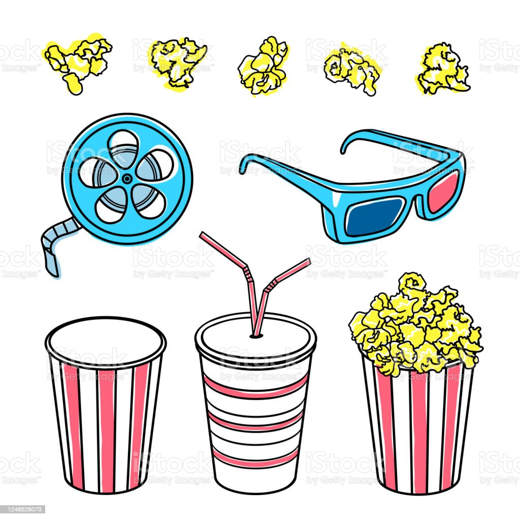 Movie Theater Group Of Objects Popcorn Movie Theater Glasses A Reel Of Film Soda Drink Cinema Eyeglasses Stock Illustration Download Image Now Istock