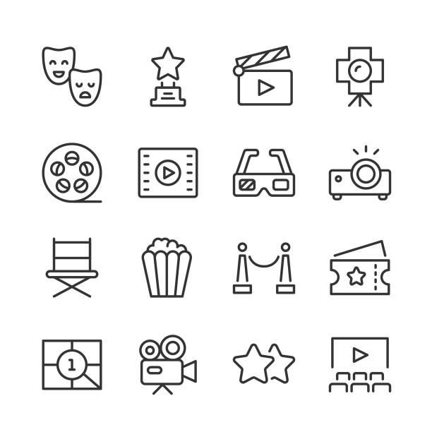 illustrations, cliparts, dessins animés et icônes de icônes de cinéma et de théâtre — série monoline - camera sculpture