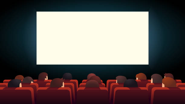 Movie theater interior. Cinema audience crowd watching film sitting in rows of red comfortable chairs looking at big lit screen. Flat cartoon vector character illustration Movie theater interior. Cinema audience crowd watching film sitting in rows of red comfortable chairs looking at big lit screen. Flat style cartoon vector isolated illustration projection screen stock illustrations