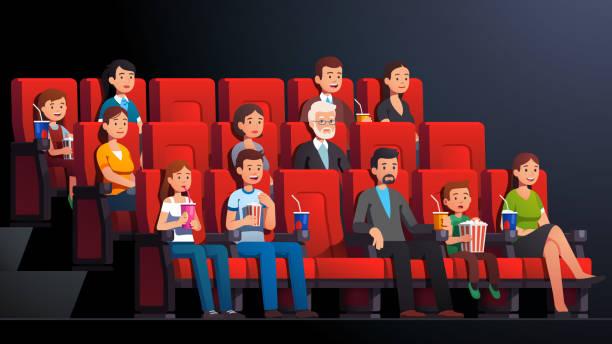 illustrations, cliparts, dessins animés et icônes de intérieur de cinéma. personnes immergées homme, femme, enfants, familles, couples buvant, mangeant regarder le film. film public de foule de cinéma s'asseyant dans des rangées de présidence. illustration de caractère vectoriel de dessin animé pla - cinéma