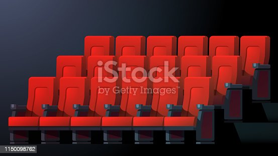 Movie theater interior with comfortable red chairs in rows. Cinema auditorium seats. Flat character vector illustration