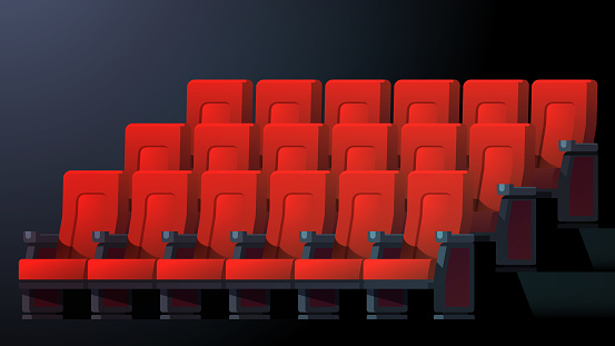 Movie Theater Interior With Comfortable Red Chairs In Rows ...