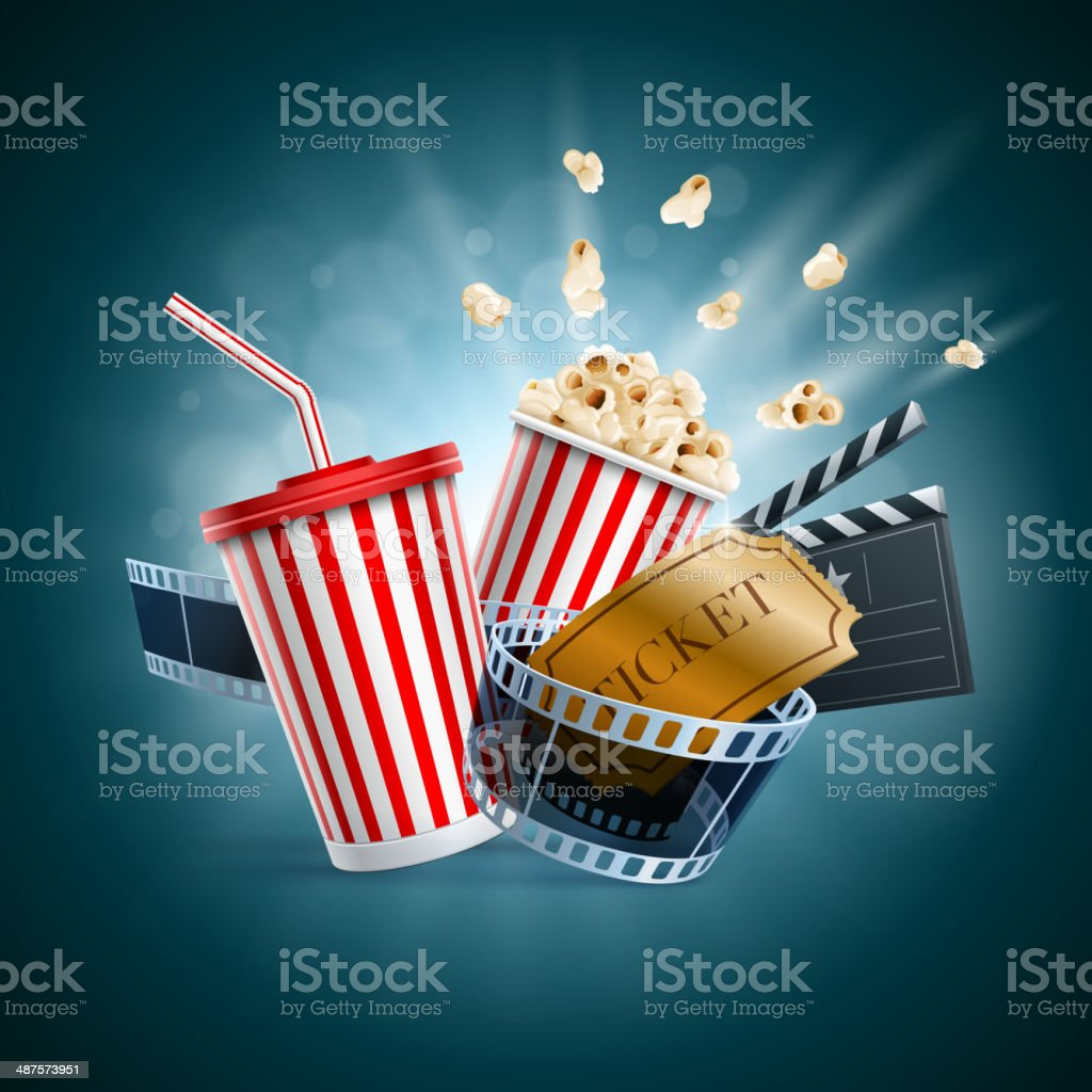 Movie theater popcorn and soda illustration vector art illustration