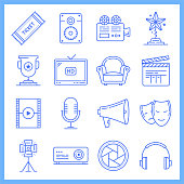 Modern movie theaters and cinema tickets blueprint style concept outline symbols. Line vector icon sets for infographics and web designs.