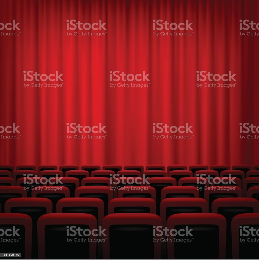 Movie Theatre Background With Red Curtains And Chairs Vector Illustration  Stock Vector Art 681629170 | IStock