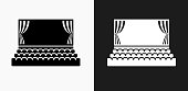 Movie Theatre Icon on Black and White Vector Backgrounds. This vector illustration includes two variations of the icon one in black on a light background on the left and another version in white on a dark background positioned on the right. The vector icon is simple yet elegant and can be used in a variety of ways including website or mobile application icon. This royalty free image is 100% vector based and all design elements can be scaled to any size.