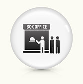 Movie Theatre icon on white round vector button