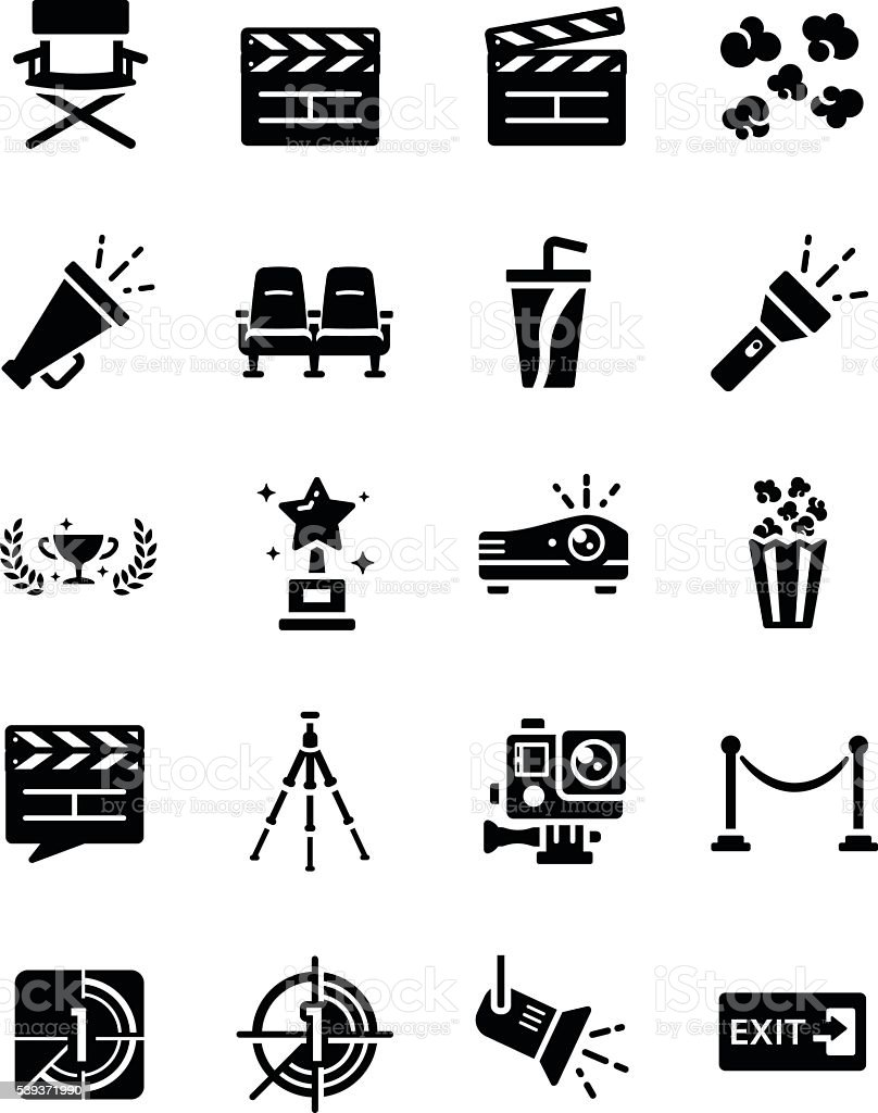 Movie Theatre Icon Set vector art illustration