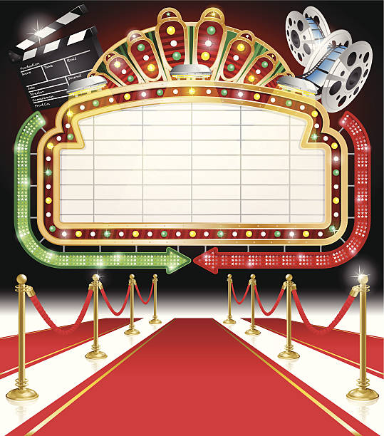 Movie themed sign with Red Carpet vector art illustration