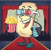 summer movie blockbuster ticket, with refreshments in hand, and 3d glasses off to the movies.