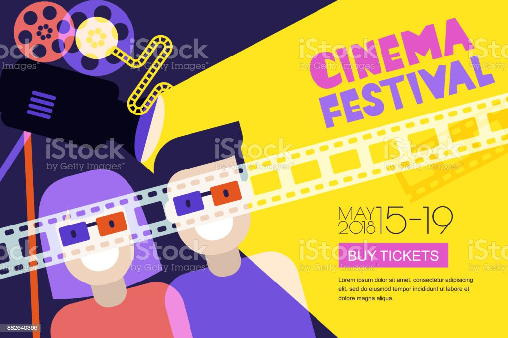 Movie time, date at the cinema concept. Vector cinema festival poster, flyer background. Sale tickets banner background royalty-free movie time date at the cinema concept vector cinema festival poster flyer background sale tickets banner background stock illustration - download image now