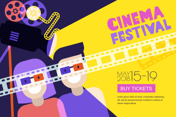 movie time, date at the cinema concept. vector cinema festival poster, flyer background. sale tickets banner background - date night stock illustrations