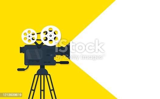 istock Movie time flat concept background. Cinema banner design 1213639619