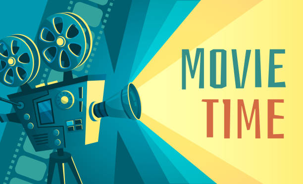 movie time poster. vintage cinema film projector, home movie theater and retro camera vector illustration - movies stock illustrations