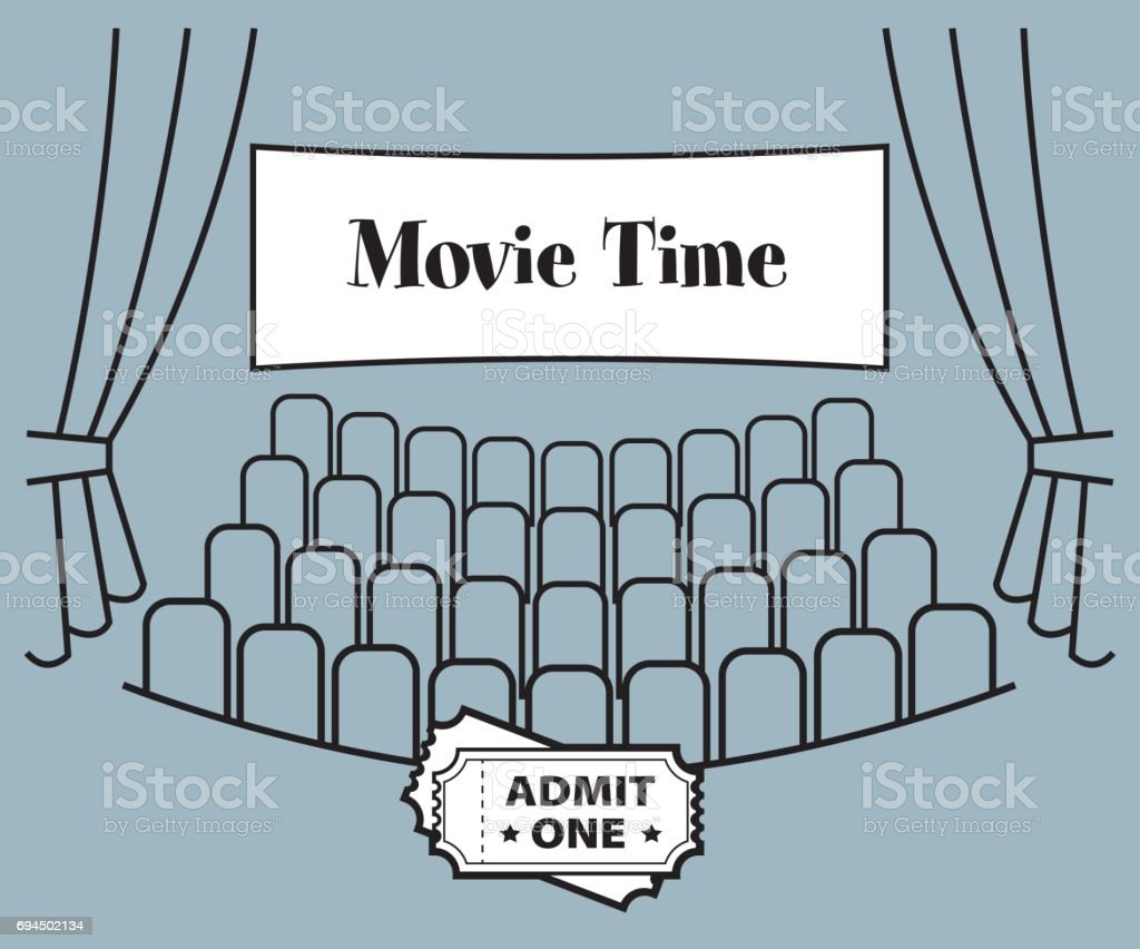 Movie Time Theater vector art illustration