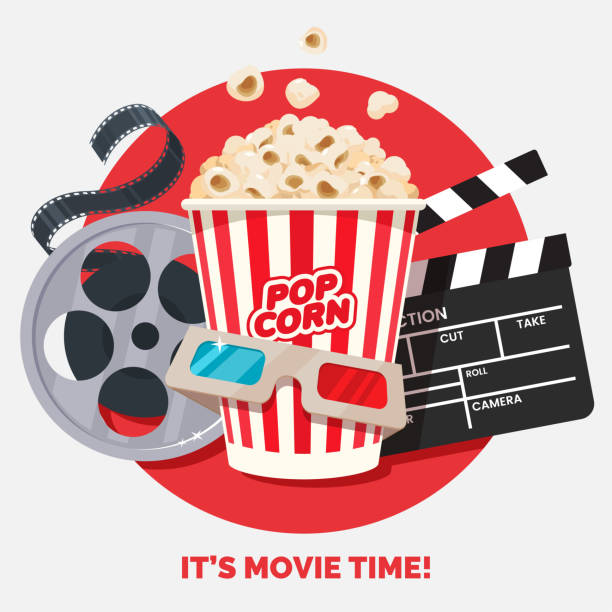 ilustrações de stock, clip art, desenhos animados e ícones de movie time vector illustration. cinema poster concept on red round background. composition with popcorn, clapperboard, 3d glasses and filmstrip. cinema banner design for movie theater. - film