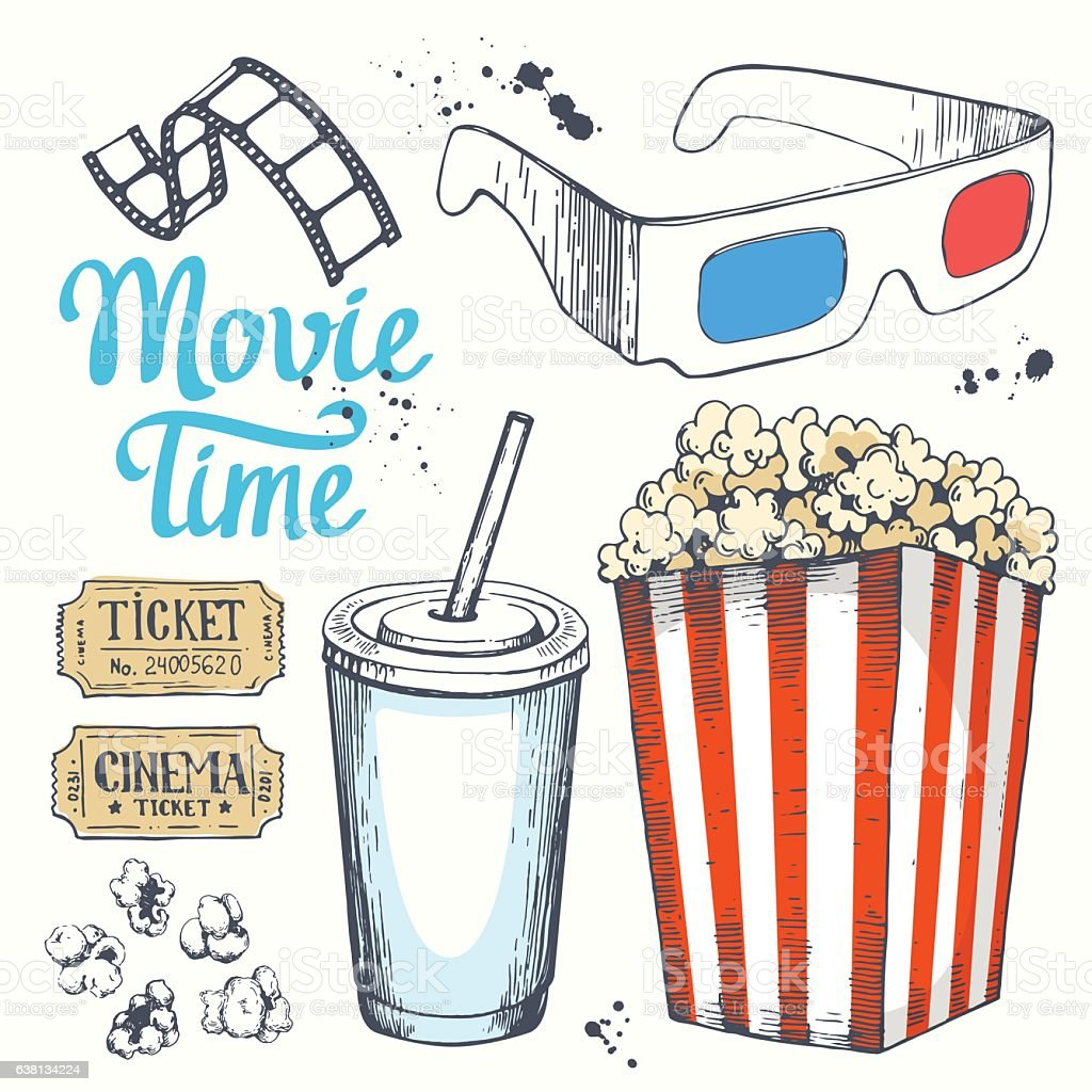 Movie time vector illustration with sketch popcorn bucket, clapperboard, glass vector art illustration
