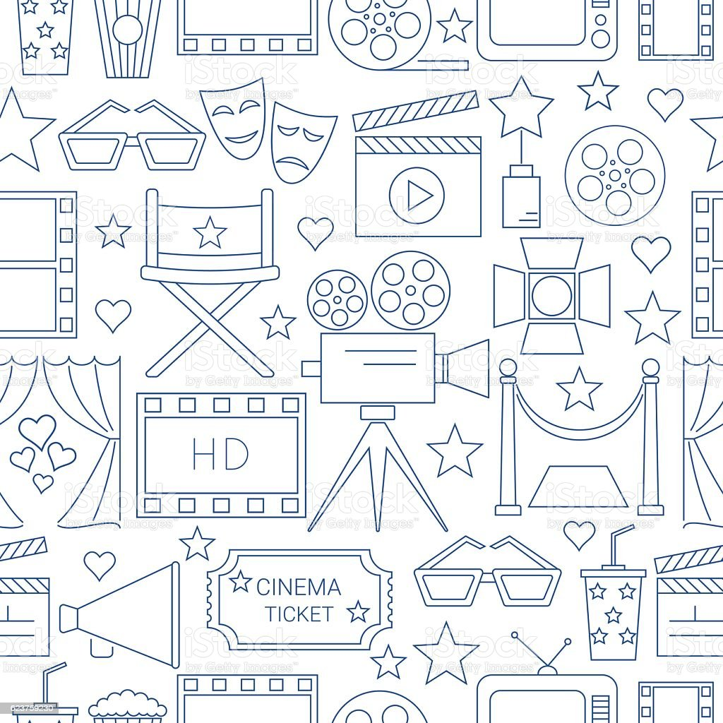 Movie Vector Seamless Pattern Background Royalty Free Stock Art