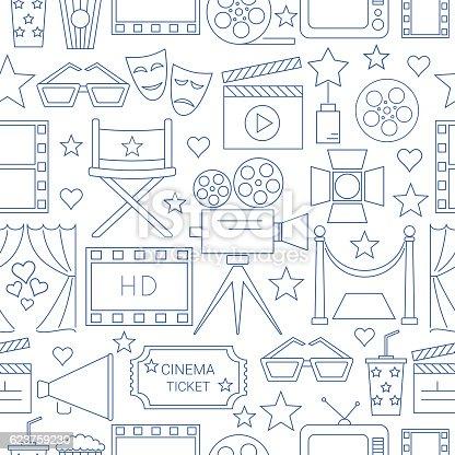 Movie Vector Seamless Pattern Background Stock Vektor Art Und Mehr