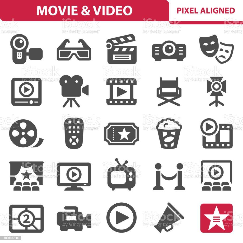 Film vidéo icônes & - Illustration vectorielle