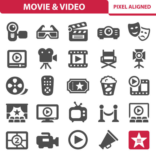 stockillustraties, clipart, cartoons en iconen met film & videopictogrammen - camera