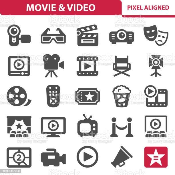 Film Vidéo Icônes Vecteurs libres de droits et plus d'images vectorielles de Acteur