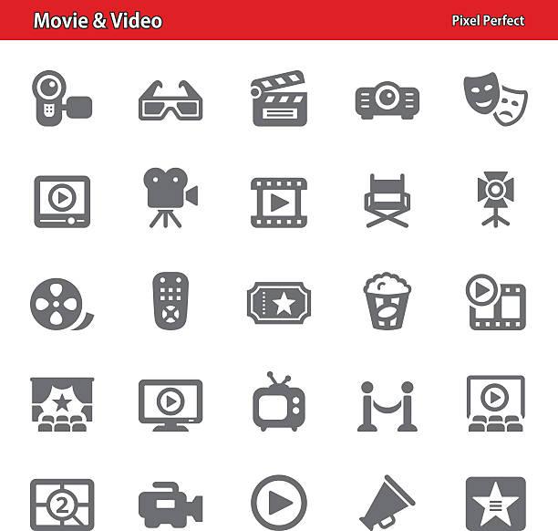 stockillustraties, clipart, cartoons en iconen met movie & video icons - acteur