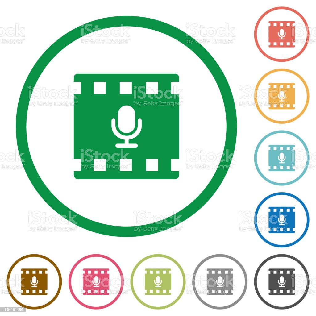 Movie voice flat icons with outlines royalty-free movie voice flat icons with outlines stock vector art & more images of applying