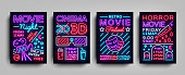Movies 3d collection posters design templates in neon style. Set neon sign, light banner, bright flyer, design typography postcard, brochure, advertising neon night for Cinema. Vector Illustrations