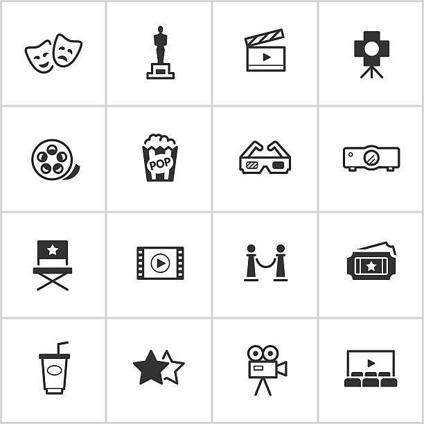 movies & cinema icons — inky series - arts culture and entertainment stock illustrations, clip art, cartoons, & icons