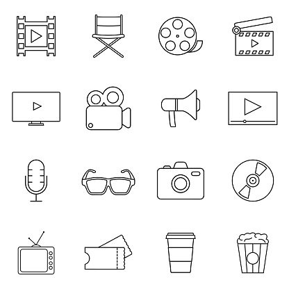 Movies, Cinema, Videos Line Vector Icons set. Suitable for use on web apps, mobile apps and print media.