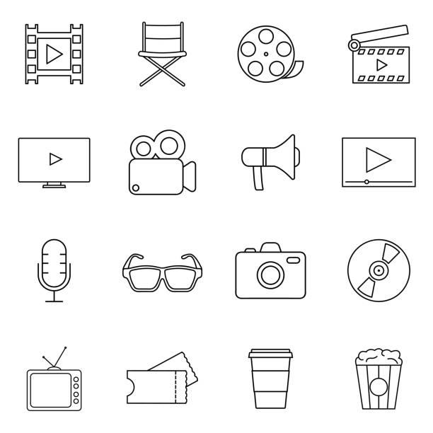 filme, kino, videos linie vektor-icons gesetzt. geeignet für den einsatz in web-apps, mobilen apps und printmedien. - film oder fernsehvorführung stock-grafiken, -clipart, -cartoons und -symbole