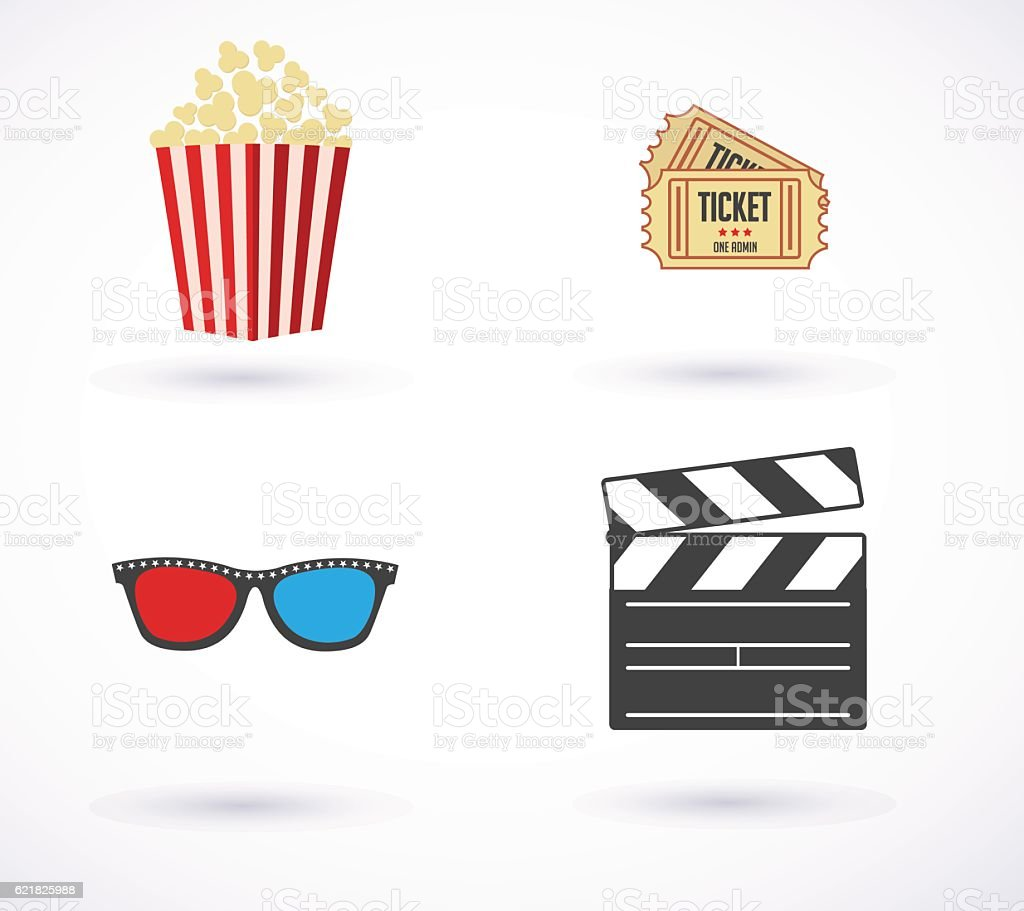 movies icon set. vector illustration - ilustración de arte vectorial