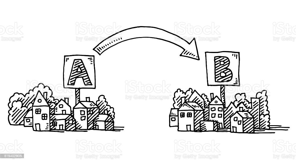 Moving A To B Town Arrow Drawing vector art illustration