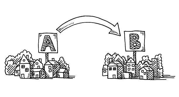 moving a から b タウンの矢印の描出 - 新居点のイラスト素材/クリップアート素材/マンガ素材/アイコン素材