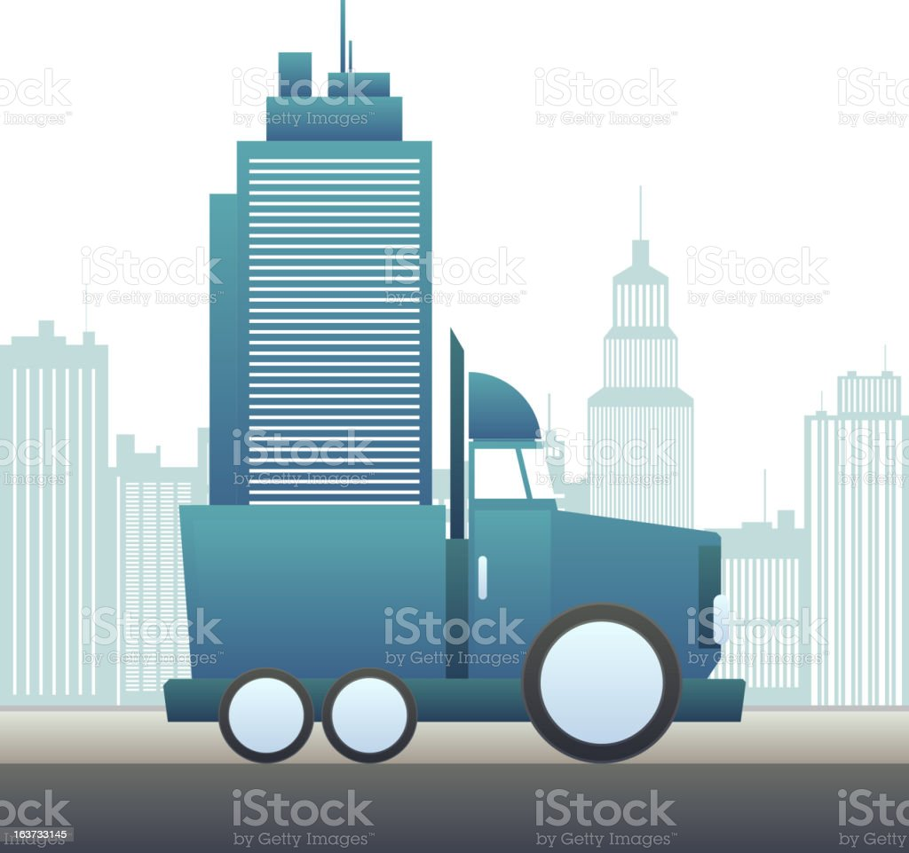Moving an Office Building royalty-free stock vector art