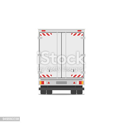Moving and delivery truck. Back side truck for transportation cargo. Vector stock illustration in flat style isolated on white background