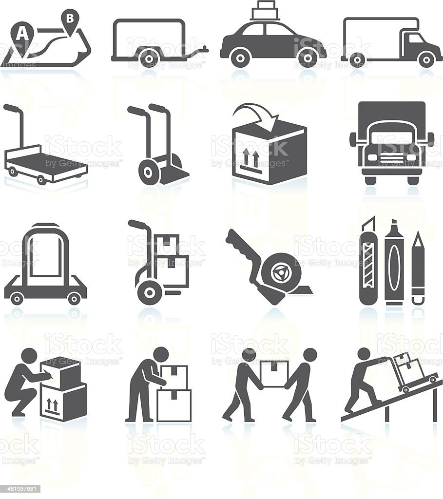 Moving and Movers Service black & white vector icon set royalty-free stock vector art