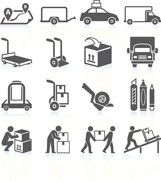 przenoszenie i movers usługi czarny & białe wektor zestaw ikon - wózek transportowy stock illustrations
