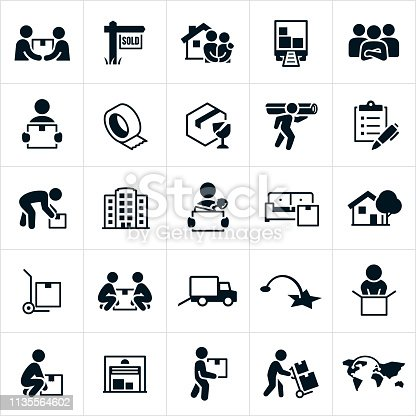 A set of icons related to residential and business moves or relocation. The icons include movers, people moving, carrying boxes, new home, moving truck, packing materials, checklist, business, moving office, furniture, dolly, storage unit and other related icons.