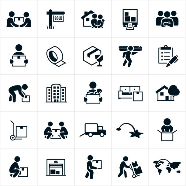 Moving and Relocation Icons A set of icons related to residential and business moves or relocation. The icons include movers, people moving, carrying boxes, new home, moving truck, packing materials, checklist, business, moving office, furniture, dolly, storage unit and other related icons. carrying stock illustrations