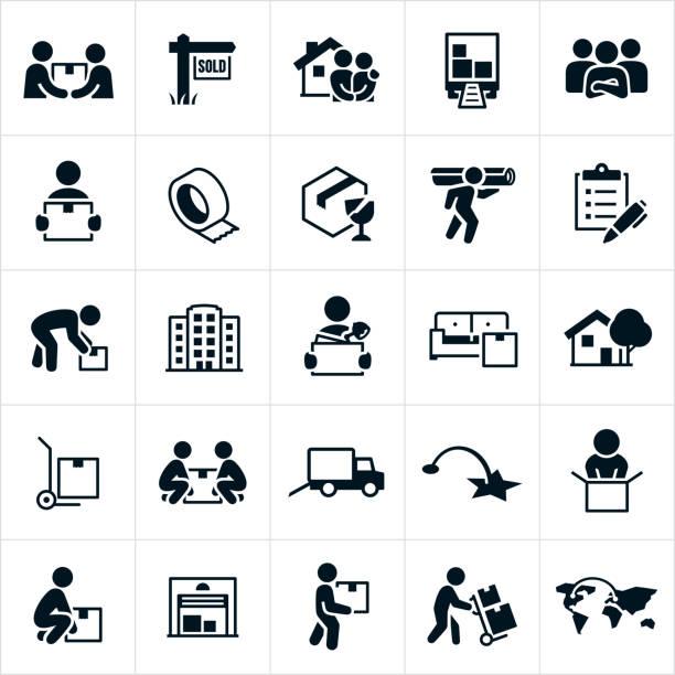 stockillustraties, clipart, cartoons en iconen met pictogrammen verplaatsen en verplaatsingen - oppakken