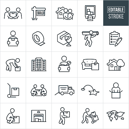 A set of moving and relocation icons that include editable strokes or outlines using the EPS vector file. The icons include one person handing another person a box during a move, sold sign, couple standing hand in hand in front of their new home, moving truck with boxes, person carrying a cardboard box, packing tape, broken glass to represent fragile, person carrying a rug on shoulder, checklist, person picking up a box, business building, person carrying box full of belongings, couch with moving box, house, hand truck, two people lifting a moving box, moving truck, person packing box, person lifting box, storage building, person pushing hand truck with boxes and other related icons.