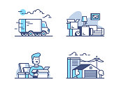 Moving and storage in warehouse. Line of icons set concept, Vector illustration